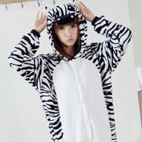 Wholesale Cartoon Onesies For Men - Flannle Zebra Animals Pajamas For Women Men Hot Sale Winter Hooded Long Sleeve Cartoon Home Indoor Casual Sleepwear Cosplay Costumes