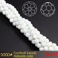 Wholesale Loose Beads China - China manufacturer loose glass crystal beads Football facets Beads 8mm Alabaster Colors A5000 72pcs set for beads curtains