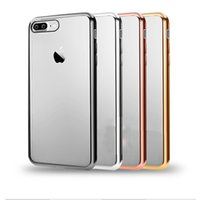 Wholesale Case Back Plate Iphone - back cover For Apple Iphone 7 plus Soft TPU case Ultra Thin Rose Gold Plating Crystal Clear Cases for iphone 7 plus case