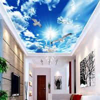 fotos natureza grande venda por atacado-Personalizado Grande Teto Mural Papel De Parede 3D Céu Azul Estéreo Nuvens Brancas Pomba Natureza Paisagem Foto Mural de Teto papéis de parede