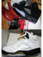 Wholesale Boxing Medal - Black Metallic 5s Top Quality Retro 5 Black Metallic Silver 3M OG Olympics Gold Tongue Medal Wholesale Basketball Shoes Men Women With Box