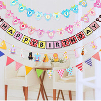 Wholesale Kids Birthday Party Dresses Boy - Baby Shower Cute Bunting Banner Dress Boy Girl Animal Cartoon Pennant Birthday Party Decorations Kids Room Ornament Flags ZA2957