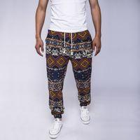Wholesale Ethnic Harem Pants - Wholesale-2016 New Fashion Men's Casual Pants Ethnic Floral Print Linen Drawstring Full Length Harem Pants Leisure Trousers Y1919