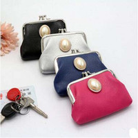 Wholesale Wholesale Beads Coin Purse - 2017 Double Mini Wallet Pearl PU Coin Purse Card Holders Pinky Color Key Packet Cheap Small Wallets Christmas Gift In Stock