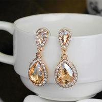 Wholesale brown chandelier crystals - Sparkly Blush Champagne Bridal Earrings Crystal Chandelier Wedding Earrings Bridal Jewelry Teardrop Luxury Bridesmaid Earrings In Stock