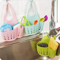 ingrosso gli organizzatori del lavandino di cucina-Kitchen Organizer Sink Hangable Storage Basket Faucet Sponge Holder Sapone Brush Organizzazione LZ0133