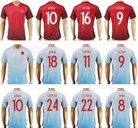Wholesale Football Tshirt - 2017 Turkey Soccer Jersey Thailand Personalized 10 ARDA 9 TOSUN 8 INAN 9 SUKUR 18 ERKIN 11 SAHAN Football Shirt Uniform Kits Foot Tshirt