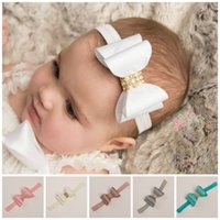 Headbands bling head band - 10PCS Stylish Baby Satin Bowknots Headband Kids Bling Crystal Headdress Flower Infants Hair Band Children Head Wear Photography Prop