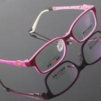 Wholesale Demo Lenses - Girl Kids Glasses Eyewear Frames Dark Red Children Glasses Eyeglasses Spectacles TR90 Material Rectangle Plano Demo Lens Optical Vision Care