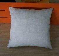 Wholesale Decorative Linen Burlap Pillows - 18 inches sqaure solid color plain burlap throw cushion cover decorative flax pillow case sofa natural linen pillow case