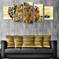 Wholesale Leopard Wall Art - 5 Plane Abstract Leopards Modern Home Decor Wall Art Canvas Animal Picture Print Painting Set of 5 Each Canvas Arts