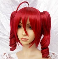 Wholesale Wig Red Ponytail - Wholesale free shipping >>2017 new Vocaloid Teto Kasane Red Cosplay WIG 2 clips ponytail