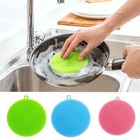 Wholesale Purpose Cleaner - Round Shape Dish Washing Brush Washing Fruit Vegetable Multi-purpose Food Grade Silicone Cleaning Dishwashing Brush V4178
