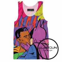 Al por mayor-ALMOSUN Super Gay 3D Over Top Imprimir Tank Tops Hot Summer sin mangas Hipster Hip Hop Street Wear Top Tee para hombres
