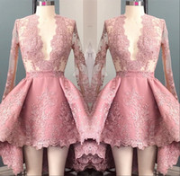 Wholesale long homecoming dresses hi lo for sale - Group buy Hi Lo Pink Long Sleeves Appliques Homecoming Cocktail Dress Deep V Neck Elegant th Grade Prom Party Dresses