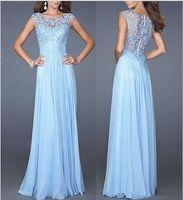 Wholesale Sexy Dress Fight - New fashion leisure summer sexy slim Blue Lace Chiffon collar waist zipper fight back sexy evening dress dress S-XLcm
