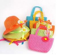 plaj saman şapka çantası toptan satış-1-6 Yaş çocuklar Güzel Ayçiçeği Çiçek Çocuk sunhat Çocuklar Kız Rahat Plaj Güneş Hasır Şapka Kap + Straw Tote Çanta Çanta Set ücretsiz shippi