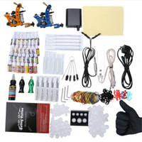 Wholesale Complete Tattoo Guns - Complete Tattoo Kit 29 Color Inks Power Supply 2 Top Machine Guns Choosing The Power Cable Contact Machine and Power Box