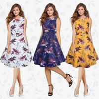 tierdruck kleider zum verkauf großhandel-Vintage animal print schluckt eine linie dress rundhalsausschnitt sleeveless 2 farben elegante party dress 2017 sommer heißer verkauf