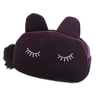Wholesale Wholesale Cluth Bags - Wholesale- 2016 New Cosmetic Bag Fashion Cute Offers Velvet Makeup Bags Cluth Purses Women Cartoon Cat Design Travel Make Up Storage Bag