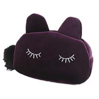 Wholesale Cluth Purse Wholesale - Wholesale- 2016 New Cosmetic Bag Fashion Cute Offers Velvet Makeup Bags Cluth Purses Women Cartoon Cat Design Travel Make Up Storage Bag