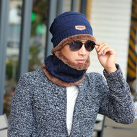 Wholesale Moto Skull - 2017 Arrival Beanies With Scarf Knitted Hat Men Winter Hats For Men Caps Warm Moto Fur Winter Beanie Fleece Knit Bonnet Hat