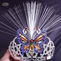 Wholesale Toy Crowns Tiaras - 2017 New LED luminous Bow Headband Tiara Crown hoop fiber luminous toy stall selling props cheer he