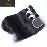 brazillian bakire saç kapatma toptan satış-3 Demetleri Ile üst Dantel Kapatma Brezilyalı İnsan Saç Örgüleri Malezya Hint Perulu Düz Bakire Saç Sınıf 8A Brazillian Saç Kapaklar