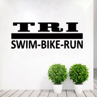 Wholesale Deco Mural Wall Sticker - 2017 Hot Sale Personality Tri Decal Sticker Triathlon Special Lettering Vinyl Wall Sticker Decal Art Deco Mural Bedroom Living Room Diy