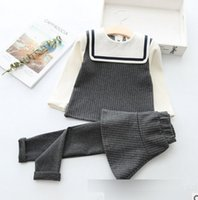 Wholesale Girls Culottes Spring Autumn - Baby girls princess outfits children preppy style lapel long sleeve stripe pullover+culottes 2pcs sets fashion new clothing G0302