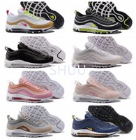 Wholesale Neon High Shoes - High Qualty Air 97 Ultra Wolf Grey Neon Black Pink Snakeskin Running Shoes 97 Premium White Gold 95 OG Designer shoes 36-46