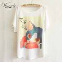 Wholesale Cartoon Ts - Wholesale-New japanese style spring cartoon tees batwing tops cat printed fashion homie pullover big size women t-shirt TS-049