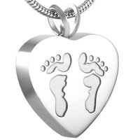 Wholesale Human Heart Halloween - IJD8006 Human Footprint in Heart CREMATION NECKLACE Women Charm,High Quality Stainless Steel Memorial Urn Keepsake Holder Ashes Jewelry