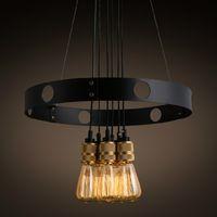 10 15sqm halogen living room edison bulb chandelier iron circle creative chandelier retro