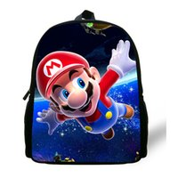 Wholesale Red Mario Backpack - 12-inch Mochila Mario School Bag Children Boys Cartoon Mario Backpack Kids Mario Book Bags For Girls