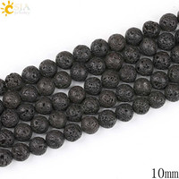Wholesale Black Stone Loose Beads - CSJA 10mm Wholesale Handmade Necklace Bracelet Jewelry Making Natural Black Lava Round Bead with Hole Volcanic Rock Stone Loose Beads E193 D