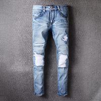 Wholesale Blue Jeans Usa - Mens Amiri jeans fashion design 2017 with USA size blue jean pants distressed knees biker style