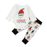 Wholesale santa baby romper - Baby Christmas outfits Kids Santa Claus romper+pants 2pcs sets children Xmas Clothing Sets C2779