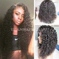 Wholesale Mongolian Kinky Hair Wig - Big Sale 8A 1b mongolian virgin human hair black women curly lace front wig free shipping