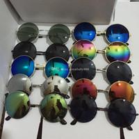 serin güneş gözlüğü serin toptan satış-13 renkler çocuk Güneş Gözlüğü Serin Metalik renkli yansıtıcı güneş gözlüğü yuvarlak Çerçeve erkek kız Güneş Gözlüğü C2182