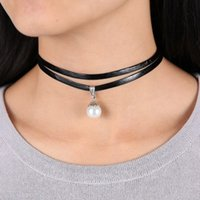 Collar Gothic Adjustable Chain Charm Colgante Vintage Jewelry Celebrity Double Layer Negro Imitation Leather Choker