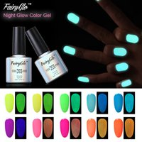 Wholesale Glow Nail Gel - Wholesale-FairyGlo 10ml UV Gel Nail Polish Candy Color Gelpolish 1pcs Fluorescent Luminous Night Glow Nail Gel Soak Off Gel Lak