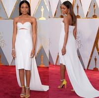 Wholesale Oscar Dress Knee Length - 2017 Oscar Simple White Evening Dresses with Strapless Sweetheart Neckline Knee-Length Straight Celebrity Gowns Red Carpet Vestido