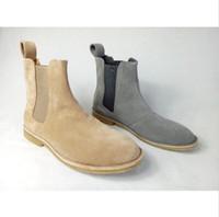 Wholesale Wedge Platform Boots Vintage - Classical Vintage Chelsea Boots Handmade All-matching Kanye West Boots Crepe Bottom Casual Platform High Men's Shoes Botas