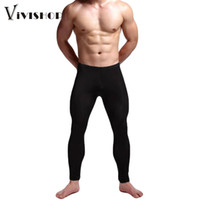 Wholesale Skinny Sleepwear - Wholesale-Sexy Men Leggings Fitness Pants Solid Sheer Stretchy Elastic Waist Skinny Casual Thin Trousers Sleepwear