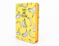 Wholesale Book Blank Pages - Wholesale- Funny Yellow Fruit Fashion Tinplate Hardcover Diary Book 9.4*14.4cm Blank+Squared+Lined Page 112 Sheets School Office Notebook