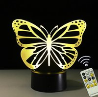 Wholesale Novelty Butterfly Night Lights - USB Novelty Gifts 7 Colors Changing Nice Butterfly Led Night Lights 3D Touch LED Desk Table Lamp Home Decoration