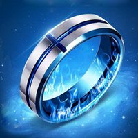 Hot Sale Blue Cross Rings Titanium Stainless Steel Mens Rings Top Fashion Womens Rings 2 cores Mix Cheap Wholesale