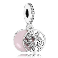 Wholesale Authentic Sterling Silver Bead Charm Pink Enamel Openwork Springtime Pendant Beads Fit Women Pandora Bracelet Bangle DIY Jewelry HK3617