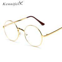 Wholesale Wholesale Mirrors Plain - Kennifer Round Plain Glass Spectacles Retro Metal Frame Eyeglasses Men Korean Clear Lens Glasses Male Female Optical Circle Plain Mirror